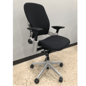 Used Steelcase Leap in Silver Frame on Black Fabric