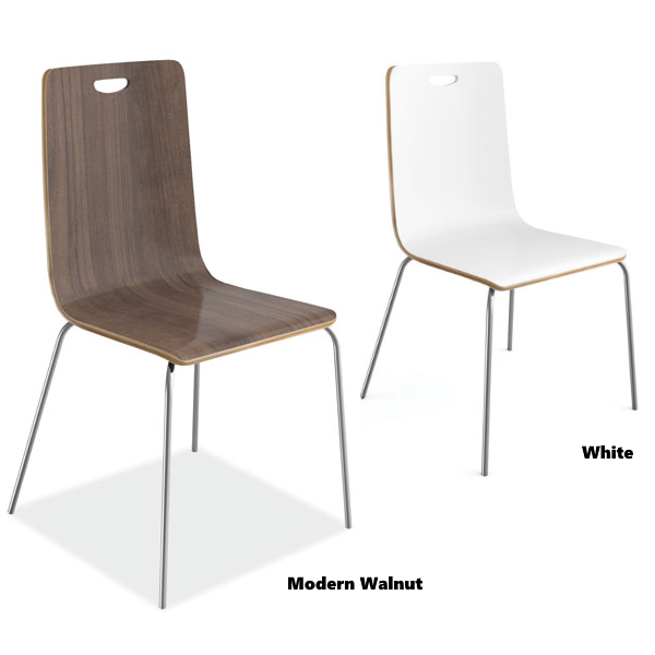 Modern Walnut or White Cafe Chairs