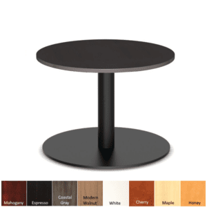 Round end table with matte black disc base