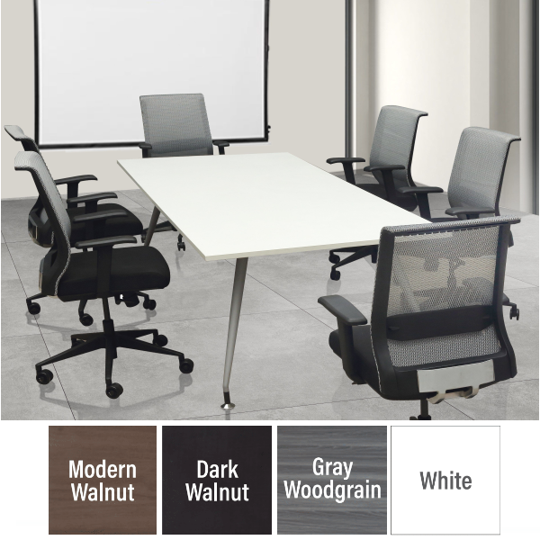 Luna 6' x 3' Conference Table with Steel Base