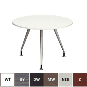 White Round Table with Steel Base