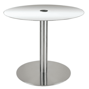 """36"""" Round Glass Top Bar Height Table with Disc Base"""