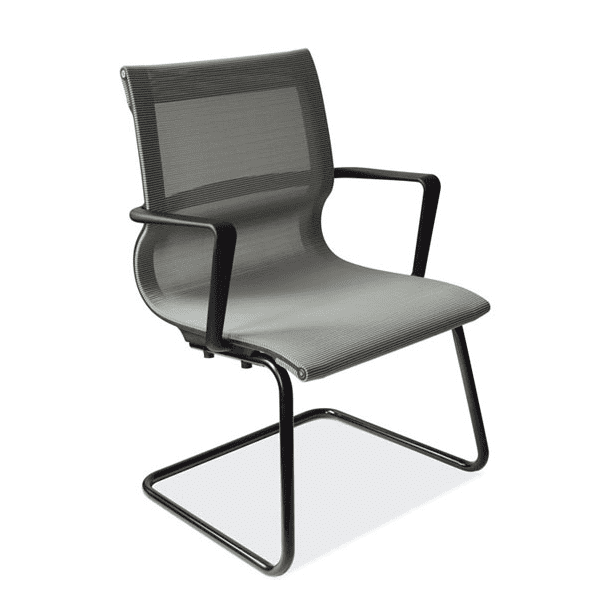 Franklin All Silver Mesh Guest Chair - Black Cantilever Steel Base