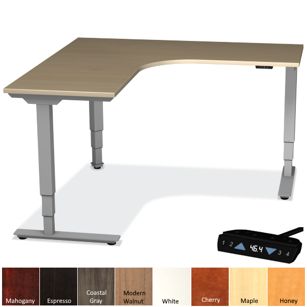 Office Source Corner Height Adjustable Desk with Interior Curve - Maple