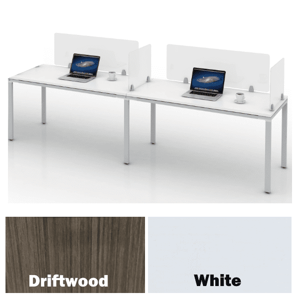 Two Person Values Benching Desking 1x2 Layout - White or Driftwood - 2 Finish Colors
