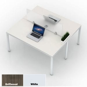 Values 2 x 1 Two-Person Team Benching Unit Configuration - 2 Finish Colors - Driftwood or White. Great for small offices on tighter budgets.