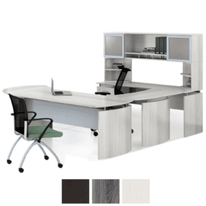 MNS Medina Curved U Shaped Desk with Two Glass Door Hutch and Corner Supports