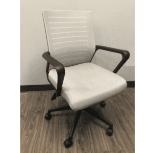 Gray Mesh Chair with Gray Fabric Seat