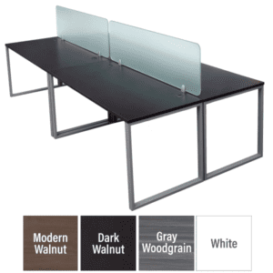 4 Person Workstation with Glass Screens