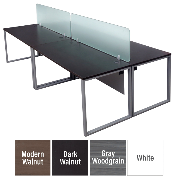 Express 4-Person Modular Workstation with Glass Dividers