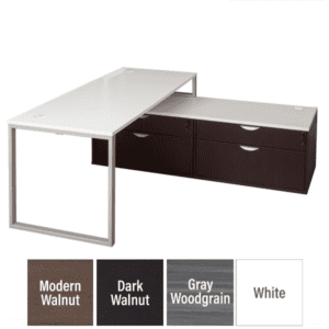 Low File Bench L-Shaped Desk with Lateral File Storage