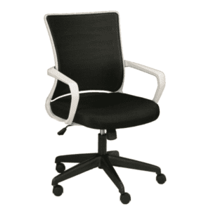 KB-2022 White Frame Conference Chair - Black Fabric