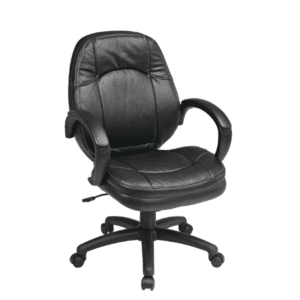 New Swivel Office Chair in Black Faux Leather