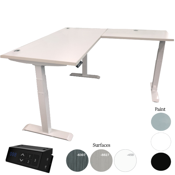 Sit to Stand L Desk - White Frame - USB Charger