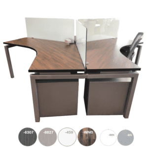 120-degree set of 3 workstations with frosted glass screens