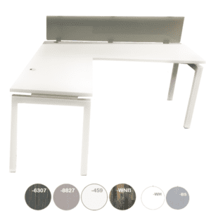 White L-Shaped Desk with Frosted Glass Screen