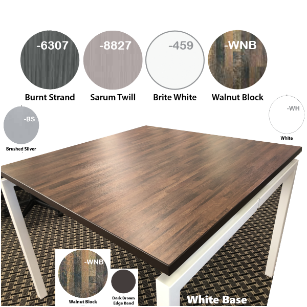 4 Finish Colors - Standing Height Square Office Table