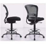 Spice Armless All Black Mesh Task Stool with Black Fabric