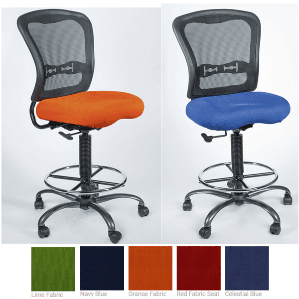 Spice Armless Mesh Task Stool with Colorful Fabric Seat