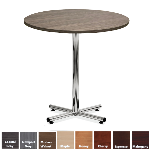 Round Bar Height Table in Coastal Gray with Chrome Base
