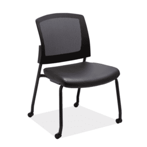 Mobile Training or Guest Chair Black Vinyl