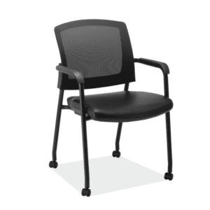 Micro Mesh Mobile Training or Guest Chair Black Vinyl Seat