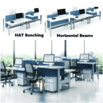 Hat Height Adjustable Benching with Horizontal Beam