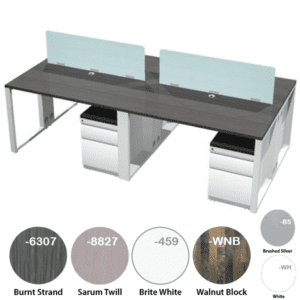 """Connect It Series 4 Person Desk with 18"""" Shared Acrylic Screens"""