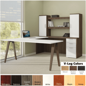 U-Shaped Desk with Oblique Legs and Valance Storage Hutch