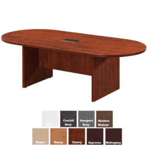 """AW Office Furniture - 95""""W Oval Shaped Conference Table - Cherry"""