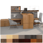 Height Adjustable Desk & Credenza - Large Low Storage Bench with Bench Workwall - Contract Furniture