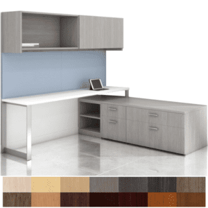 Canvas executive l shaped storage bench desk with wall mount door hutch