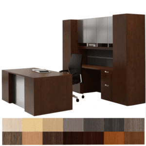 Indiana Canvas Step Front Executive Desk with Credenza & Tackboard with Storage Hutch - Executive Contract Office Furniture