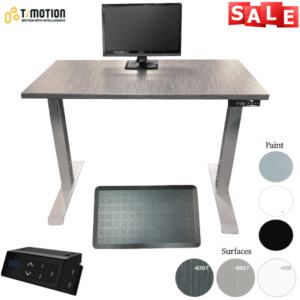 """TiMotion Height Adjustable Desk - Electric TiMotion Control with 2-Stage Base - 48W x 24""""D or 30""""D"""