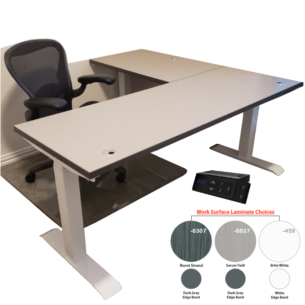 Height Adjustable L-Shaped Desk - Electric TiMotion USB Control - Sarum Twill Surface - Left Return