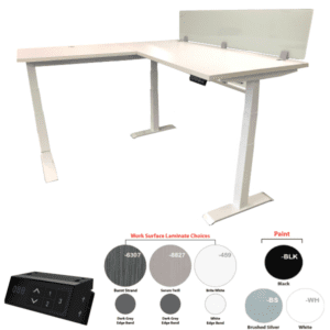Height Adjustable L-Desk with 12 Inch Dry Erase Screen