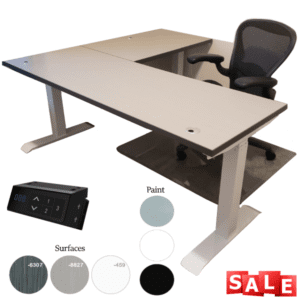 Height Adjustable L-Shaped Desk - TiMotion USB Control & 2 or 3-Stage Lifting Base - Sarum Twill Top & White Base