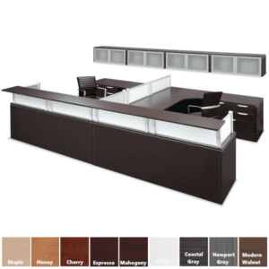 Performance 12' Large Team Reception Station with Wall Mount Glass Door Cabinets