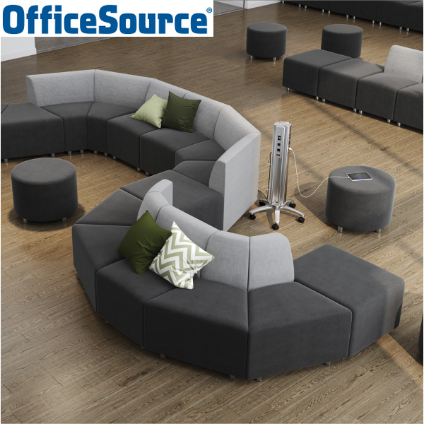 Office Source Mobile Power Tower - Silver Finish - COE