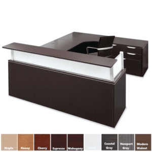 Performance Furnishings Dual Interior Curved U Shaped Desk with Front Rectangular Top