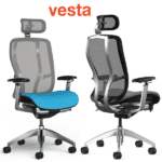 Vesta Task Seating with Headrest in Silver Frame