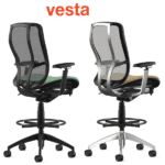Rear View of Vesta Tasking Stool with Mesh Back and Upholstered Seat