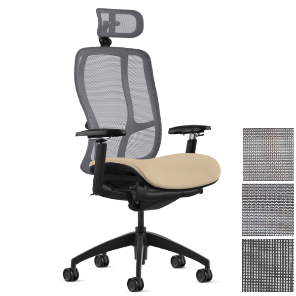 9to5 Seating Vesta High Back Mesh Task Chair with Headrest Attachment
