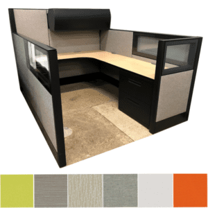 Refurbished Fabric Cubicle with Mixed Wall Height with Glass Accents