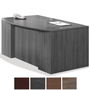Step Front Bow Front Executive Desk with Two Storage Pedestals