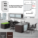 2D Layout - Step Glass Front Interior Curved U Shaped Executive Desk