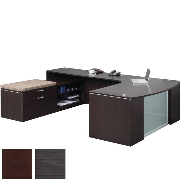 Executive Curved U-Desk with Low Benching Storage