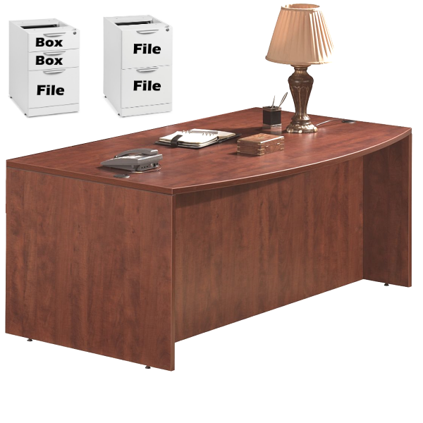 Bow Front Executive Desk with Storage