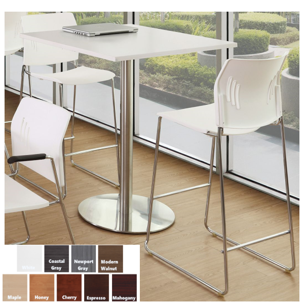 Square Top with Tall Aluminum Silver Base Bar Table