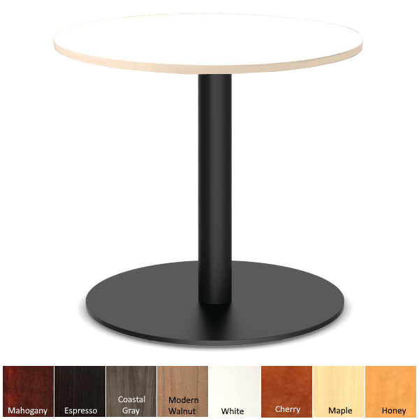 White Top Bar Height Round Table with Black Base